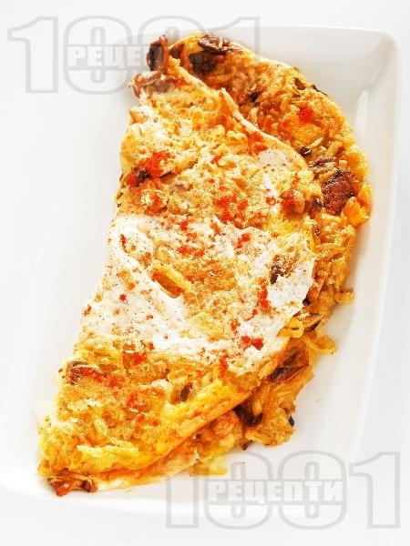 Омлет с гъби печурки и картофи на тиган - снимка на рецептата